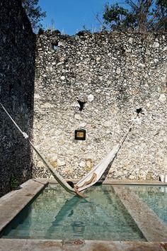 Yucatan, Mexico - A hammock over a pool! holiday, water, swimming pools, dreams, heaven, hammocks, stone walls, haciendas, places