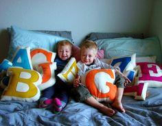 cute letter pillows---DIY THIS!