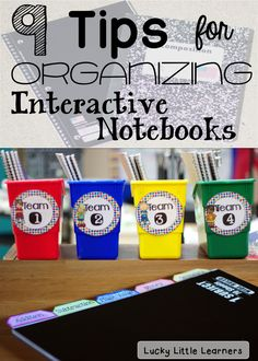 This blog post has 9 tips and tricks for organizing and storing interactive notebooks in your classroom!  Read all about bookmarks, gluing, cutting, storage, cutting corners, table of contents, teacher prep, and more!  There are some FREEBIES included in this post as well!