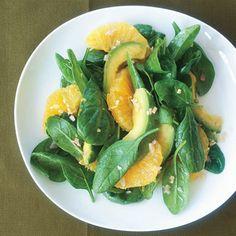 Asian Spinach Salad with Orange and Avocado Recipe | Epicurious.com
