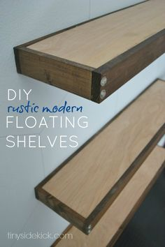 DIY Rustic Modern Floating Shelves {tutorial}  These shelves floor to ceiling floating shelves help define a space and are the perfect mix of rustic and modern with 2 tone wood and hex bolt accents. #floatingshelves #rusticmodern #homedecor