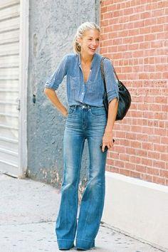 denim on denim, bell bottoms, chambray shirt, street style, style, fashion