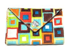 Minky Cloth Pad Wallet Bag - Free Shipping - Robert Kaufman Brown and Orange Minky with Brown Minky. $18.50, via Etsy.