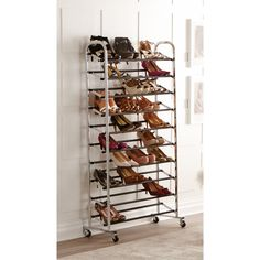 Chrome 10-Tier Rolling Shoe Rack #shoes #closet #storage