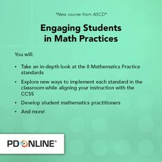 This new ASCD PD Online course will help you engage your math students and turn them into true practitioners.