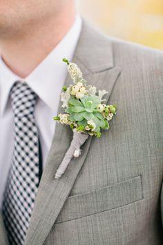 Succulent boutonniere #wedding #flowers