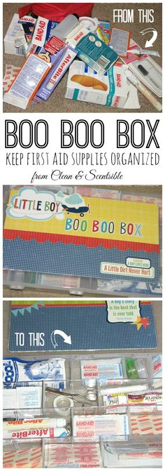 Boo Boo Box - Such a great way to get all of those first aid supplies organized and easily accessible!  Great for taking camping or to the beach!