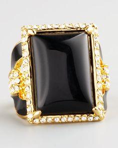 Rachel Zoe Square Ring, Black