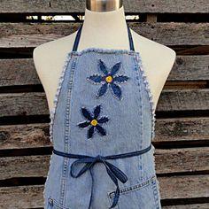 Blue Daisy Denim  Apron  - Upcycled Blue Jeans Apron.