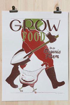 Grow Food on an Organic Farm farm, screen, foods, victory garden, garden poster, victori garden, prints, food posters, grow food