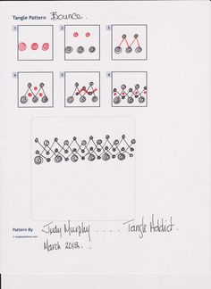 """""""Bounce"""" 001 Tangle pattern by Judy Murphy 3/2013"""