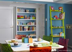 This basement was converted in a bright and colorful playroom by My Tiny Nest. #playroom