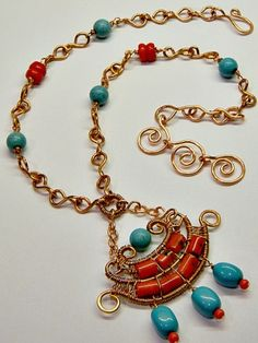 Eygptian Coral & Turquoise Necklace