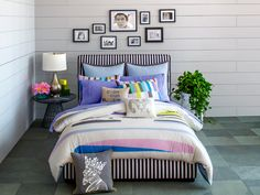 Love this affordable black-and-white striped bed.