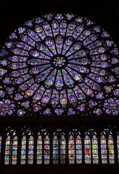 Rose Window of Notre Dame Cathedral in Paris, France