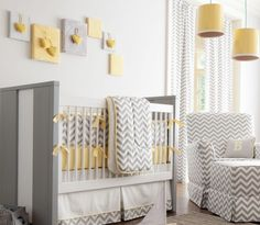 Love the soft grey and pale yellow together!  patterns retro nursery e1348356459935 Dressing Up your Babys Nursery with Retro Modern Style