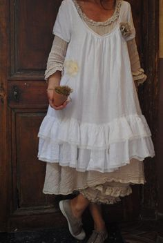 sweet, cloth, gypsy style dresses, white, ruffl smock