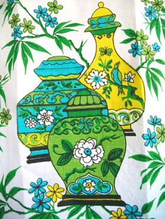 Vintage Dish Towel/Tea Towel--Chartreuse Green, Turquoise and  Yellow with Bamboo