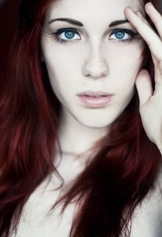 red hair, pale skin