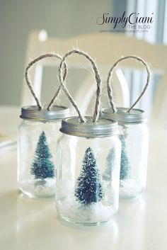 Mini Mason Jar Ornaments: can fill with glitter, confetti, jewels, pinecones or holly, tinsel, etc.