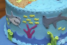 Beach & Shark-Themed Birthday Cake