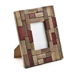 rustic photo frame w/ red accents