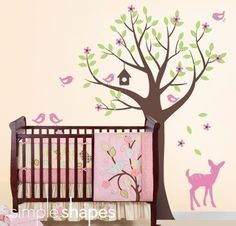 Tree with Birds and Fawn Decal Set $84