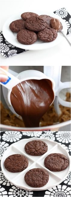Chocolate Nutella Cookie Recipe on twopeasandtheirpod.com Love these rich and decadent cookies! #cookies