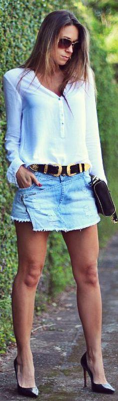 #shorts Saia #jeans | Decor E Salto Alto by Decor e Salto Alto