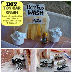 DIY Toy Car Wash - Using a recycled Milk Jug and some kitchen sponges!!