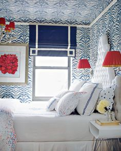 blue and white with red accents