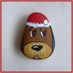Santa dog painted rock