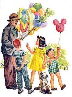 window shopping, happy birthdays, parties, balloon man, vintage party