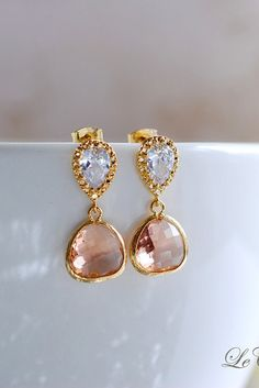 Peach Champagne Drop Clear CZ cubic zirconia Post Earrings. Wedding Jewelry, Bridal Earrings, Bridesmaid Earrings, Glass Dangle Earrings, by LeChaim, $28.00 www.etsy.com/shop/LeChaim
