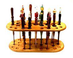 Handmade Wood Crochet Hook Display Stand Cherry Wood. $49.99, via Etsy.