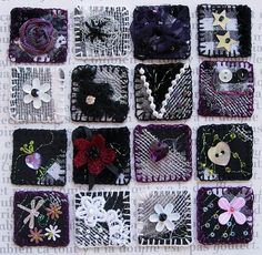 black and purple fabric inchies