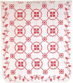 Martha Page, red and white, vintage Burgoyne Surrounded quilt