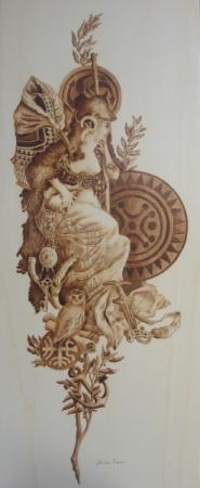 diosa cantabria cuadro pirograbado tabla de madera pirograbado a mano