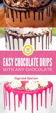 How to make a perfect chocolate drip every time. No more worrying about drips being too thick or too runny. In this tutorial I show you exactly how much chocolate and how much cream to use for perfect chocolate drips and how to fix bad drips. These chocolate drips are easy to make! Just click the video to visit my blog for the full recipe and tutorial. #chocolate #dripcake #drip #cakedecorating #cakedecoratingtips #howto