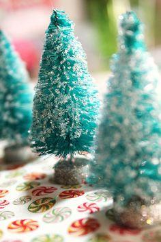 Aqua bottle brush Christmas trees