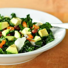 kale salad with apricots, avocado and parmesan