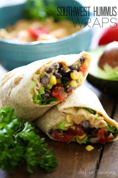 Southwest Hummus Wraps from chef-in-training.com …This is a delicious, filling and easy meal that you don't have to feel guilty about! vegan wrap recipes, easi meal, wrap vegan, southwest wraps, vegetarian wraps recipes, southwest hummus wrap, vegan wraps