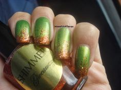 Intense Polish Therapy: Halloween inspired manicure - Green & Orange Glitter Gradient