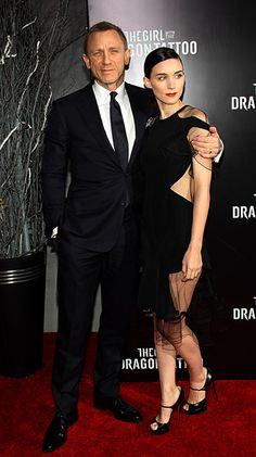Rooney Mara and Daniel Craig at Dragon Tattoo premiere
