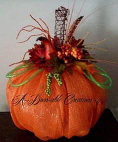 Fall Pumpkin Deco Mesh Centerpiece on Etsy, $75.00