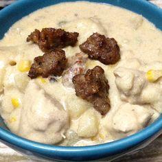 Sausage chicken & dumplings are fantastic #Fall comfort food! #allstarsjville #jvillekitchens