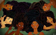 Esmeralda (Hunchback of Notre Dame), Mulan, Princess Tiana (Princess and the Frog), Pocahontas, Princess Jasmine (Aladdin) and Nani (Lilo and Stich)