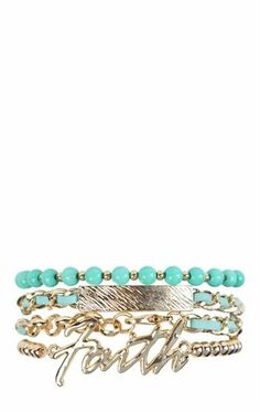 Deb Shops 4 row chain bracelet with beads and faith $8.17