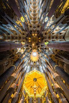 Wide-Angle Interior Shots of Sagrada Família Church in Barcelona
