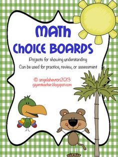 Math Choice Boards: math projects for all units - 4th, 5th, and 6th grade